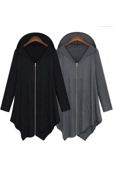 Zip Front Irregular Hem Long Sleeve Hoodie Coat with Double Pockets