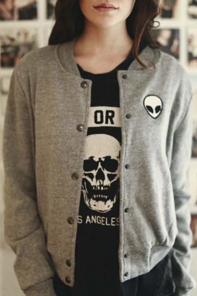 Fashion Alien Embroidered Long Sleeve Baseball Jacket