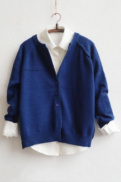Fashion Three-Button V-neck Long Sleeve Cardigan