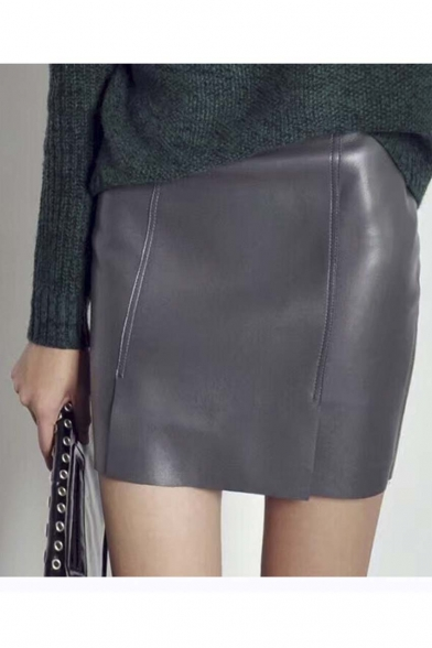 Leather Split Side Zip-Back Bodycon Skirt