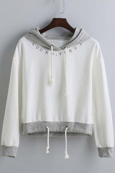 New Arrival Fashion Letter Embroidered Long Sleeve Drawstring Hooded Sweatshirt