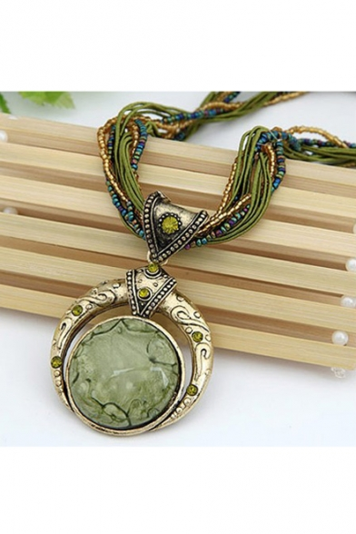 New Arrival Retro Bohemia Style Beads Chain Crystal Gem Grain Pendant Necklace