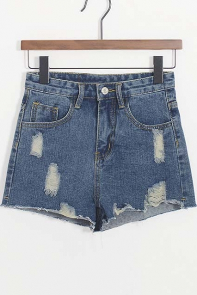 Retro Style Distressed Raw Hem High Waist Denim Shorts
