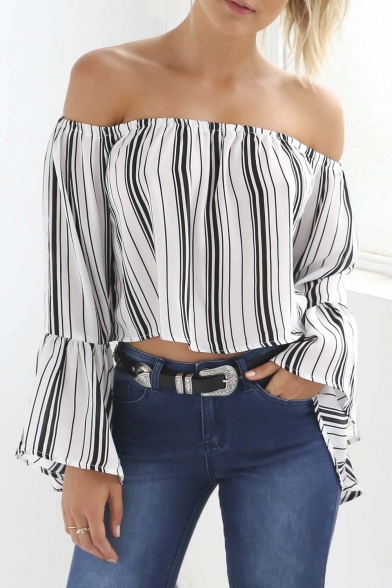 Sexy Striped Off the Shoulder Long Lantern Sleeve Cropped Blouse