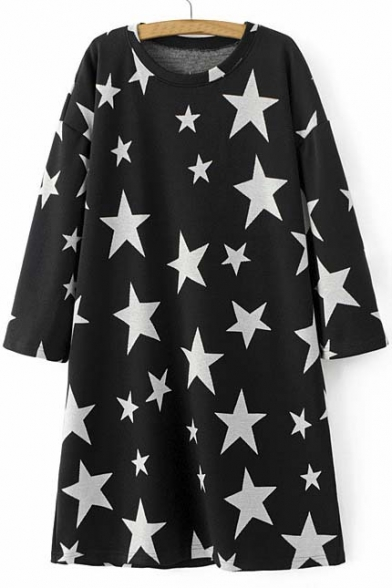 Fashion Star Print Long Sleeve Round Neck Sweater Dress