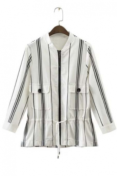 New Style Vertical Striped Tied Waist Zipper Placket Stand-Up Collar Blouse with Two Pockets