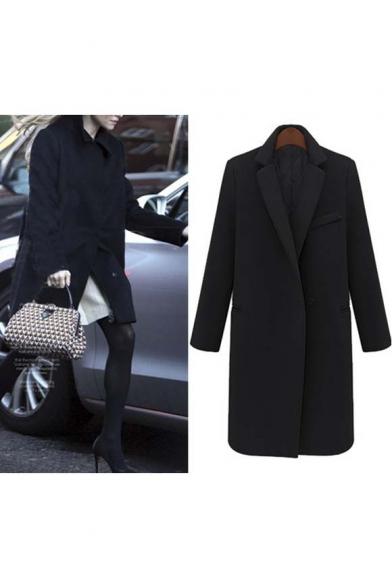 2016 Trendy Notched Lapel Single Button Long Coat