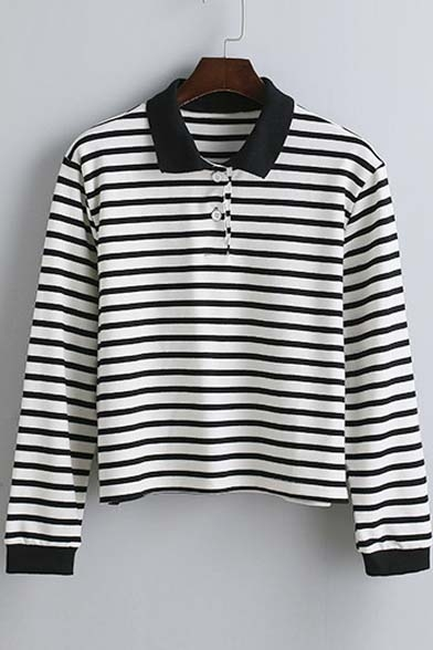 shirt Fall Striped New Spring Arrival T Sleeve Long Lapel F88xpqRnw