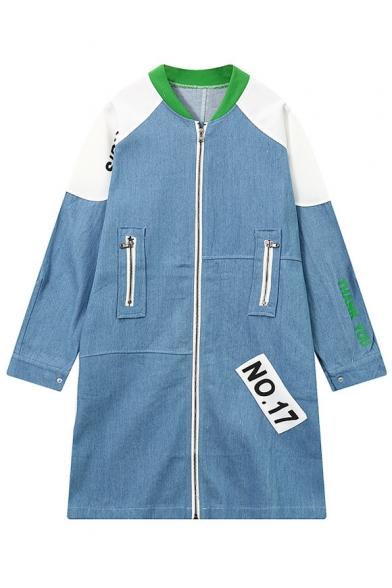 New Arrival NO.17 Letter Print Color Block NO.17 Zip Up Long Denim Coat