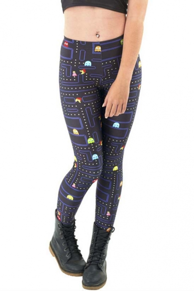 Sexy Elastic Waist Galaxy Animal Print Capri Leggings
