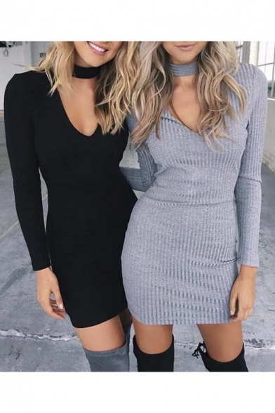 New Style Cut Out V-neck Long Sleeve Bodycon Short Dress