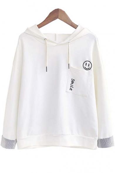 Fashion Smile Face Pocket Stripe Cuff Long Sleeve Hooded Sweatshirt