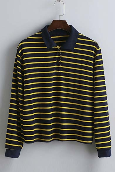 New Arrival Fall Spring Striped Long Sleeve Lapel T-shirt