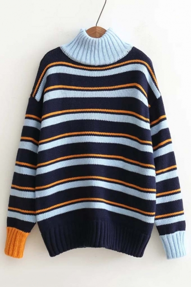 Stylish Color Black Stripe High Neck Long Sleeve Loose Sweater