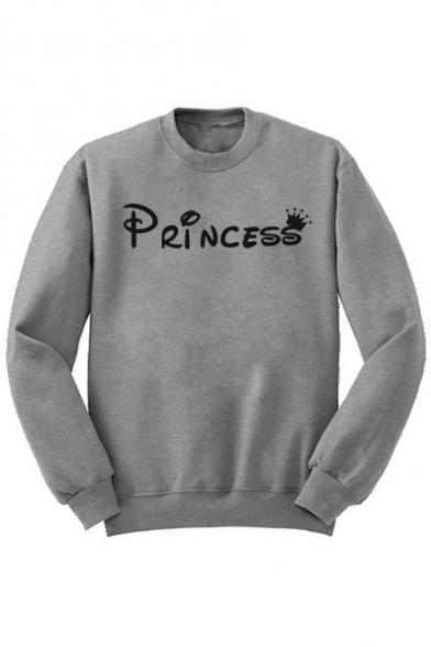 Unisex Print Sweatshirt Princess Letter Fleece Sleeve Long nTwFT4O06q