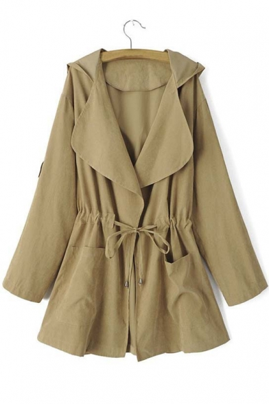 Women's Fashion Drawstring Waist Hooded Trench Coat with Pocket