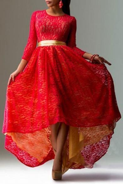 Graceful Long Sleeve Belt Waist Lace Crochet High Low Hem A-Line Maxi Dress