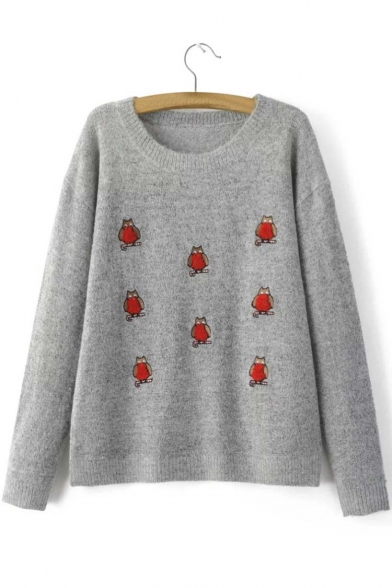 Trendy Round Neck Long Sleeve Embroidery Animal Pattern Sweater