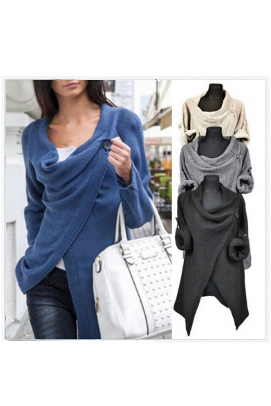 Women's Fashion Wrap Front Long Sleeve Knit Top