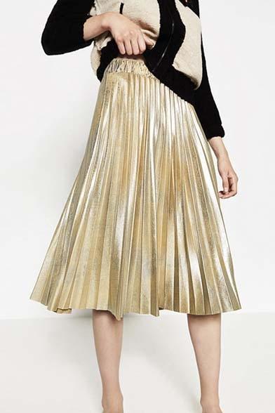 Blinking Metallic Plain Print Elastic Waist Midi Pleated Skirt