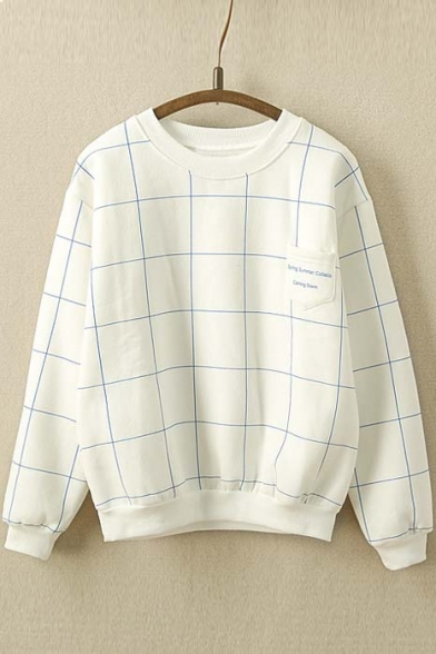 Fashion Plaid Print Elastic Trim Round Neck Long Sleeve Pullover Sweatshirt