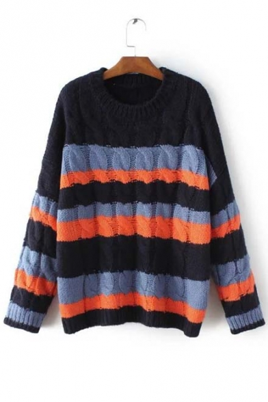 Round Neck Long Sleeve Contrast Stripped Cable Knit Sweater