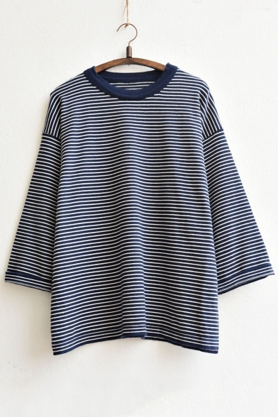 Women's Fashion Drop Sleeve Striped Knitted Pullover Top