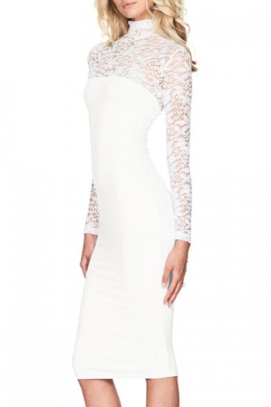 dec4fcf3fc Women s Sexy Lace Yoke High Neck Long Sleeve Bodycon Midi Dress -  Beautifulhalo.com
