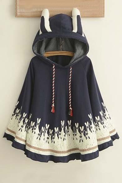 Hooded Rabbit Rabbit Cape Lovely Ears Print Sleeve Batwing Neck wIqppgx