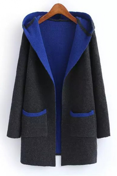 Stylish Color Block Two Pockets Open-Front Hooded Cardigan