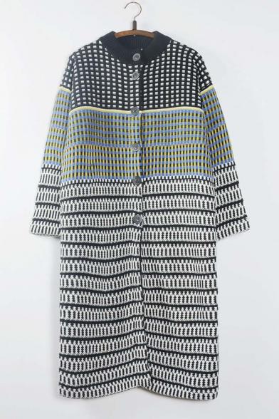 Women's Fashion Color Block Plaid Button Down Maxi Cardigan