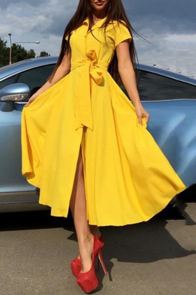 Women's Sexy Button Front Short Sleeve A-line Midi Dress
