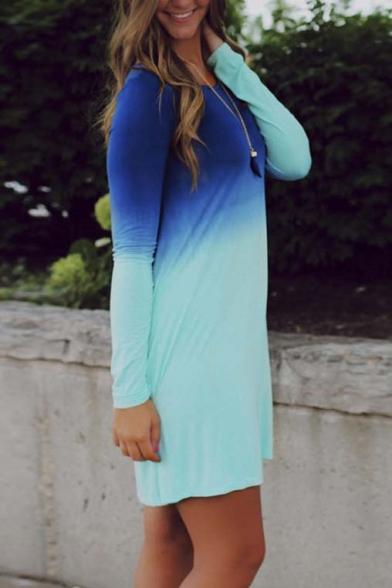Casual Round Neck Long Sleeve High Waist Ombre Print T-shirt Dress