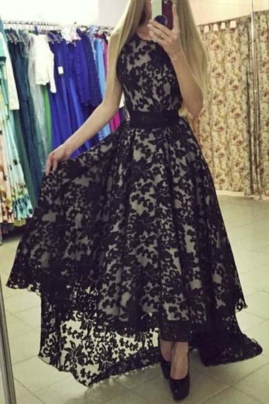 Women's Elegant Sleeveless High Low A-line Lace Dress