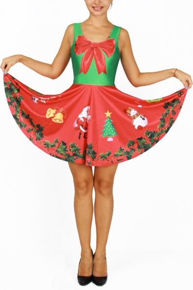 Fashion Reversible Color Block Christmas Santa Bell Print Sleeveless A-line Short Dress