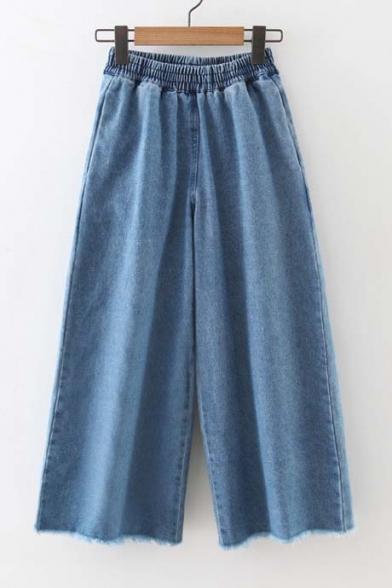 Mid Elastic Waist Wide Leg Raw Edge Cropped Jeans