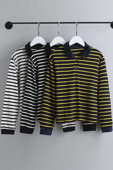 Lapel New shirt Spring Sleeve Long Fall Arrival Striped T rrnqUYW