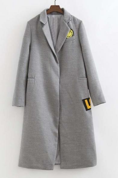 Notched Lapel Embroidery Pattern Open-Front Split Back Slim Maxi Coat