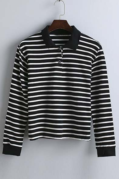 Striped T Long New Fall shirt Lapel Sleeve Arrival Spring qpwp6UT4ft