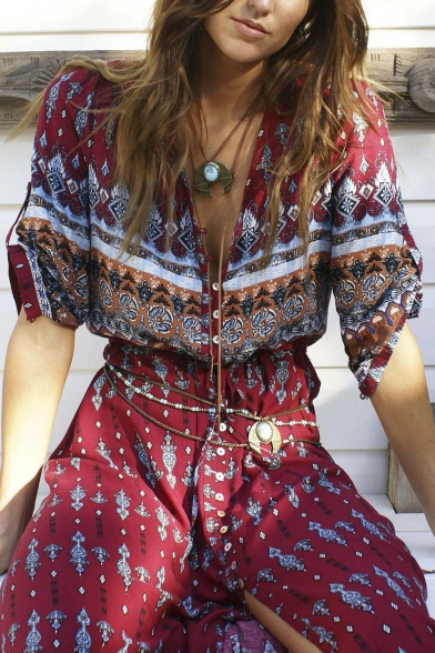 Print Single New Dress Half Style Plunge Hem Breasted Split Neck Maxi Geometric Sleeve Beach aaEwXU