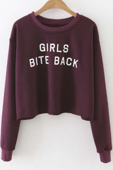 New Stylish Letter Print Round Neck Long Sleeve Cropped Pullover ...