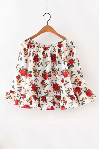 Sexy Boat Neck Floral Print 3/4 Length Bell Sleeve Ruffle Trim Blouse