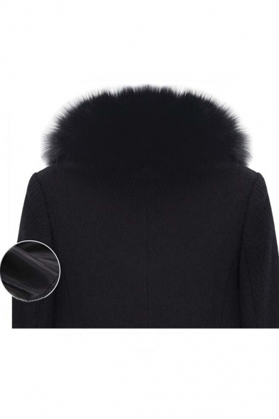 2016 New Arrival Stylish Fur Collar Zip Front Wool Coat