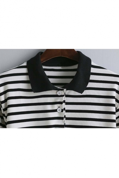 Long Arrival Sleeve Fall shirt Spring New Lapel Striped T wHfIqwWT