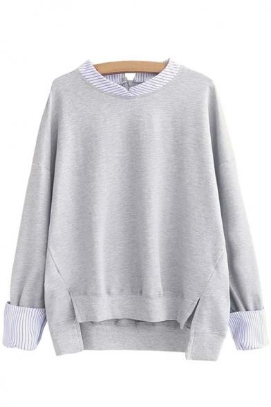 Stylish Stripe Trim Dip Hem Long Sleeve Sweatshirt