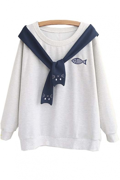 2016 Hot Tie Front Cat Fish Detail Round Neck Long Sleeve Sweatshirt