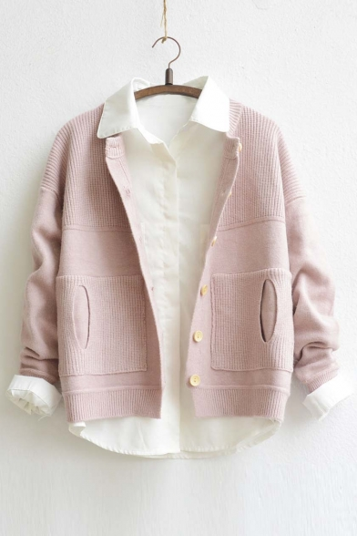 2016 New Arrival Single Breasted Long Sleeve Sweater Coat with Pocket