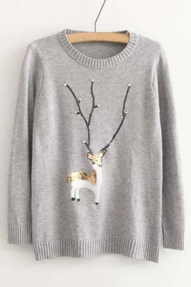 Trim Beaded Striped Deer Fashion Sweater Sequined Print nq0pXHX