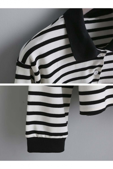 Long Arrival New Sleeve Fall Spring Striped Lapel T shirt dIqA6qwrx