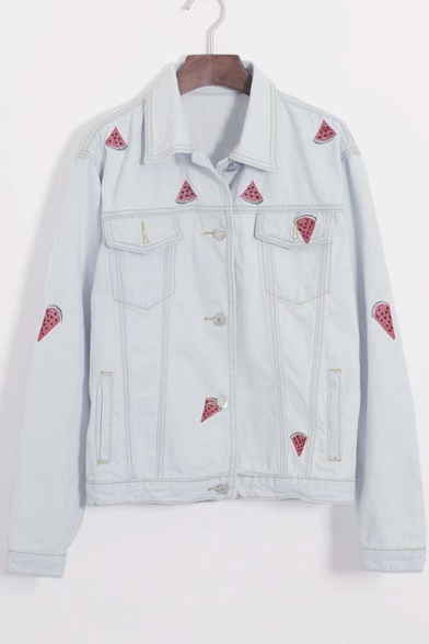 Stylish Watermelon Embroidered Lapel Denim Jacket